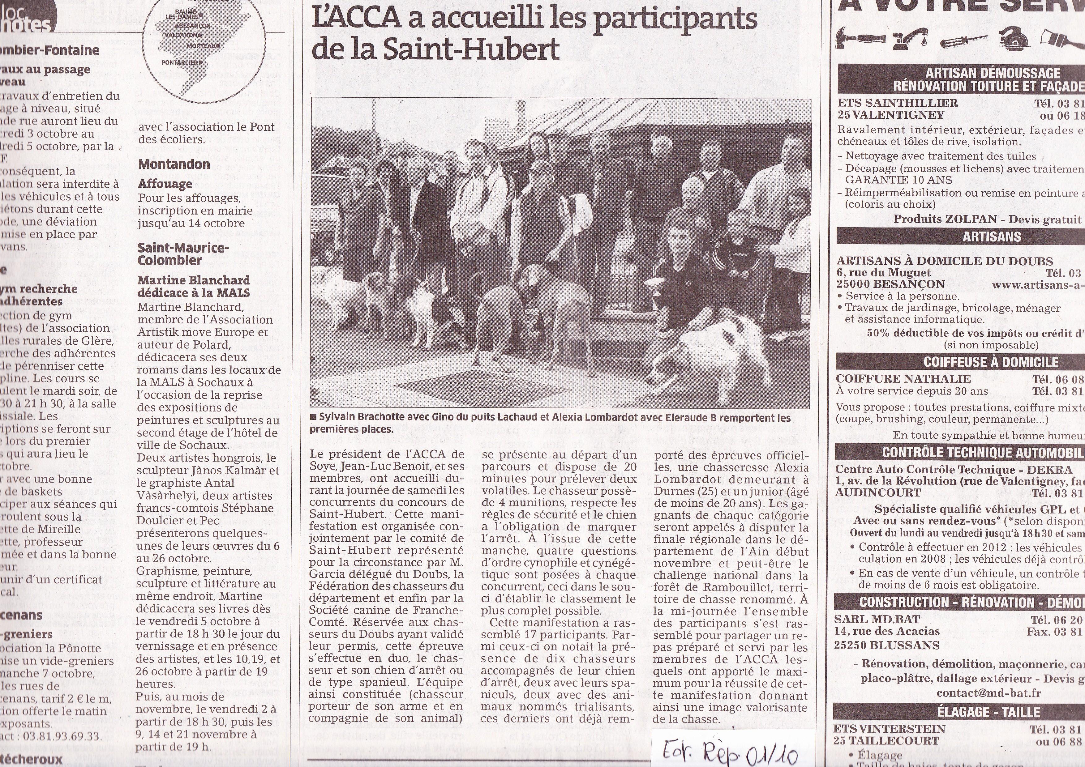 F d ration d partementale des chasseurs du doubs archives presse - Archives du doubs tables decennales ...