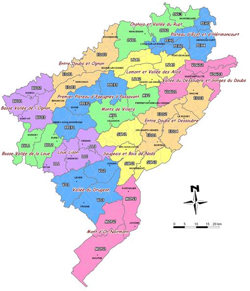 Carte des Pays cynégétiques du Doubs