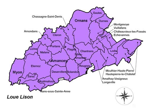 Carte du Pays Cynégétique Loue Lison