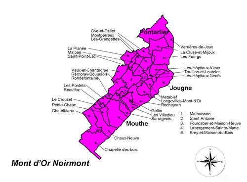 Carte du Pays Cynégétique Mont d'Or Noirmont