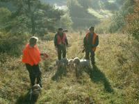 Groupe de chasseurs aux chiens courants
