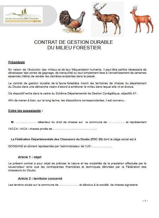 Contrat de Gestion Durable Milieu Forestier