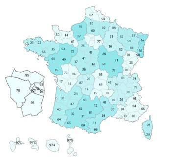 Carte des Fédérations en France