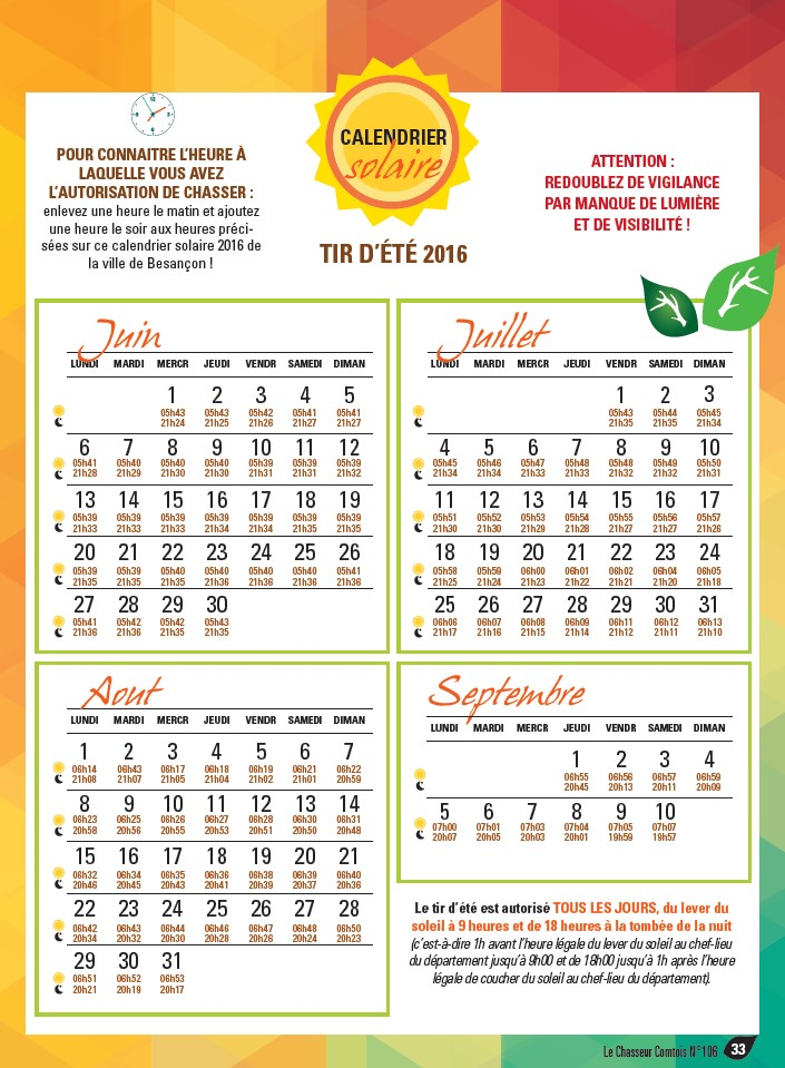 Calendrier solaire 2016
