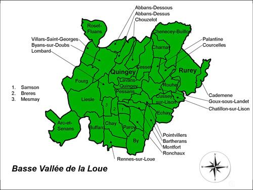 Carte du Pays Cynégétique Basse Vallée de la Loue